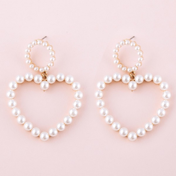 "Pearl Beaded Heart Drop Earrings.  - Approximately 2"" L"
