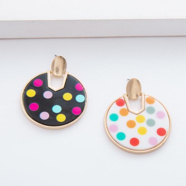 "Enamel Coated Multicolor Polka Dot Hinge Drop Earrings.  - Approximately 1.5"" in diameter - Approximately 2"" L"