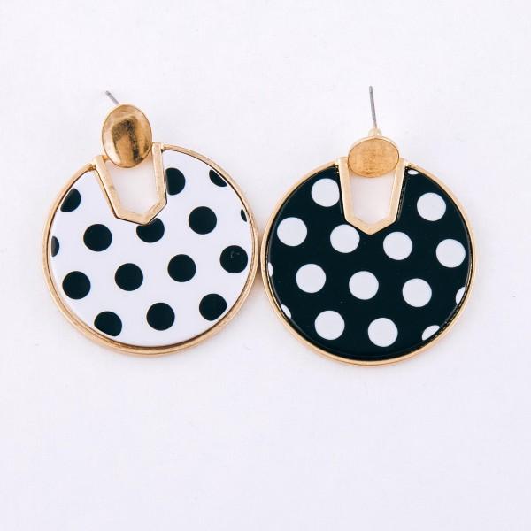"Enamel polka dot hinge disc earrings.  - Approximately 2"" L  - 1.5"" in diameter"