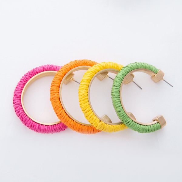 "Raffia Color Open Hoop Earrings.  - Approximately 2"" in diameter"