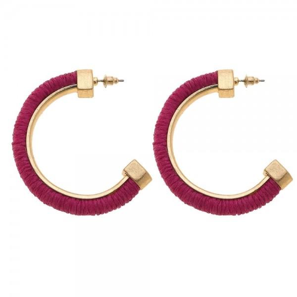 """Raffia Color Open Hoop Earrings.  - Approximately 2"""" in diameter"""