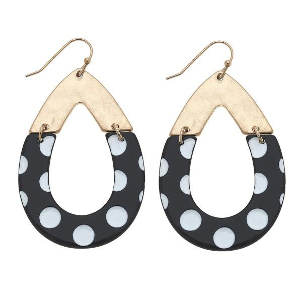"""Enamel polka dot hinge teardrop earrings.  - Approximately 2"""" L"""