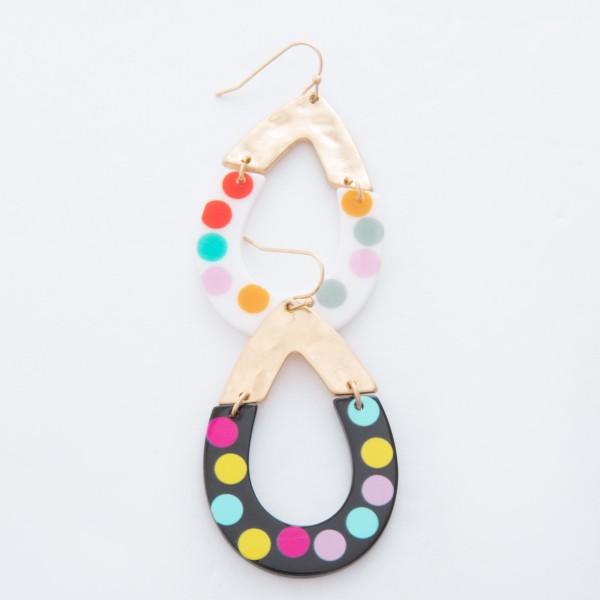 """Enamel Coated Multicolor Polka Dot Hinge Teardrop Earrings.  - Approximately 2"""" L"""