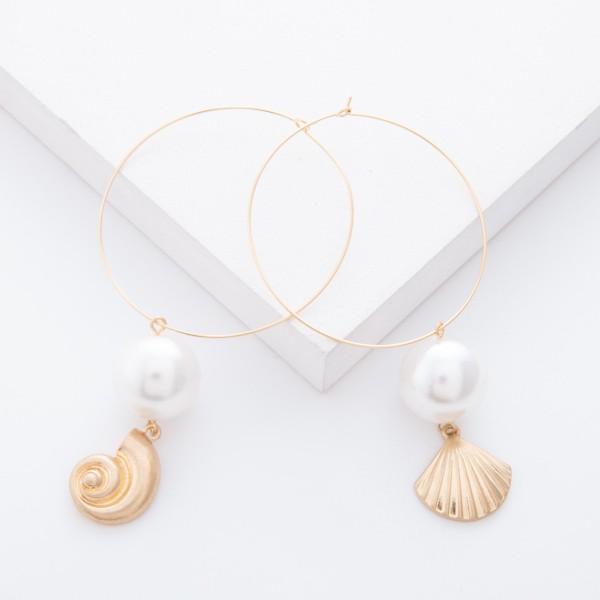 """Worn Gold Tybee Seashell Pearl Statement Drop Hoop Earrings.  - Hoop approximately 2"""" in diameter - Pearl 15mm in diameter - Approximately 3"""" L overall"""