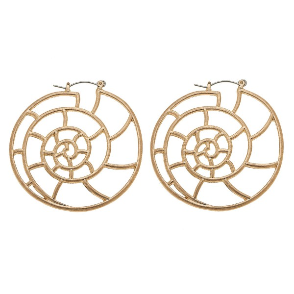 "Worn Gold Metal Cut Out Seashell Statement Hoop Earrings.  - Approximately 2"" in diameter"