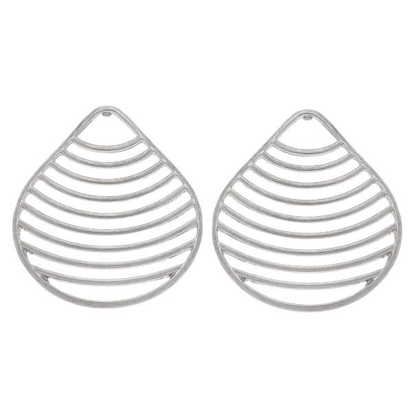 """Worn Silver Portfolio Statement Teardrop Earrings.  - Stud Post - Approximately 2"""" L"""