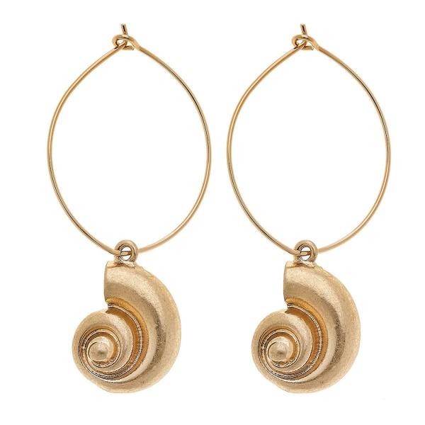 "Worn Gold Tybee Seashell Drop Hoop Earrings.  - Hoop approximately 1"" in diameter - Approximately 2"" L overall"
