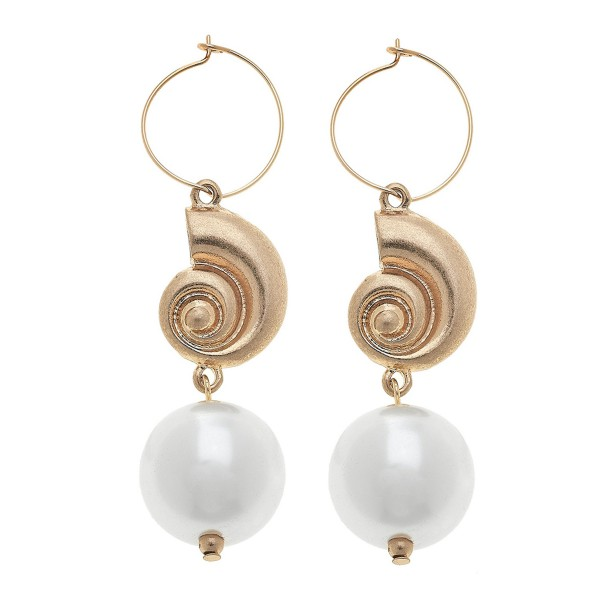 "Ivory Pearl Tybee Shell Statement Drop Hoop Earrings in Worn Gold.  - 1"" Hoop diameter - Approximately 2.5"" L"