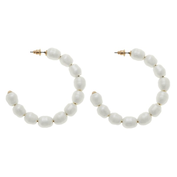"Ivory Freshwater Pearl Beaded Hoop Earrings.  - Approximately 2"" in diameter"