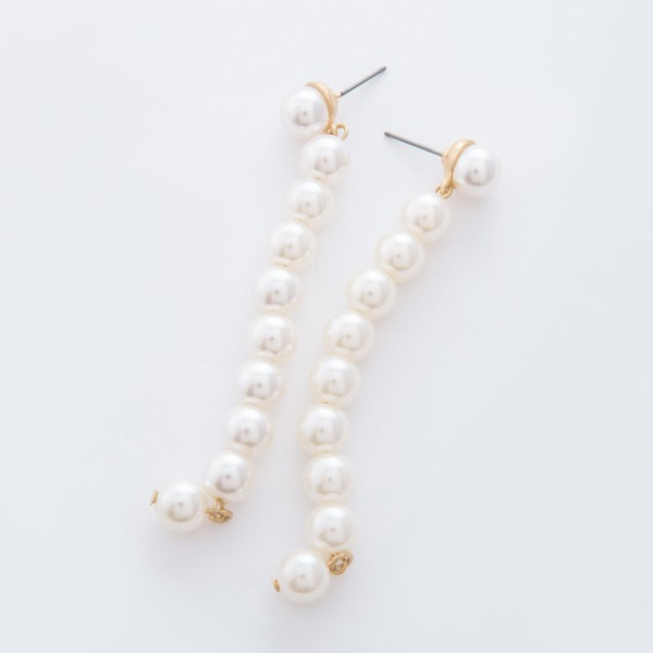 "Ivory Pearl Beaded Drop Earrings.  - Approximately 3"" L  - Pearl 7mm"