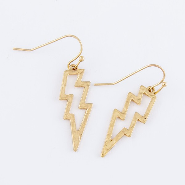 "Short Open Hammered Lightning Bolt Drop Earrings in Worn Gold.  - Approximately 1.25"" L"