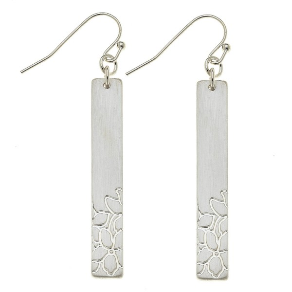Wholesale satin Silver Flower stamped bar drop earrings L