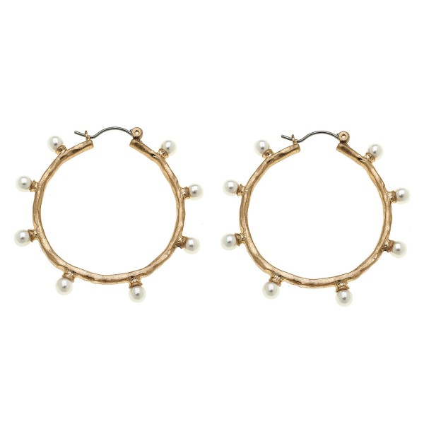 "Hammered pearl beaded pin catch hoop earrings.  - Approximately 1.5"" in diameter"