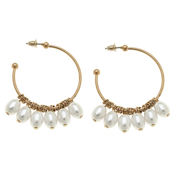 Wholesale gold pearl beaded dangle hoop earrings L diameter