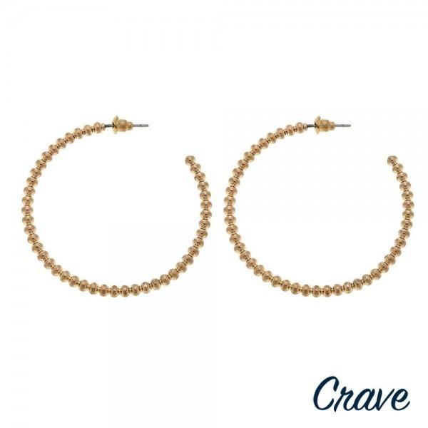 """Worn Gold Metal Ball Beaded Hoop Earrings.  - Approximately 1.75"""" in diameter"""