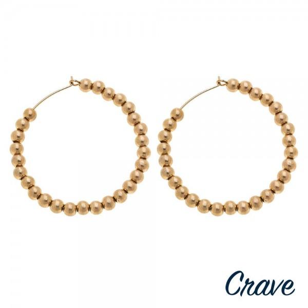 """Worn Gold sphere beaded wire hook hoop earrings.  - Approximately 2"""" in diameter"""