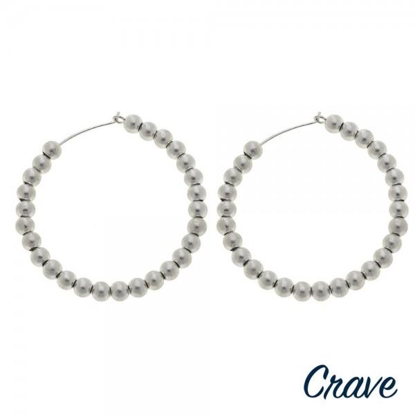 """Worn Silver sphere beaded wire hook hoop earrings.  - Approximately 2"""" in diameter"""