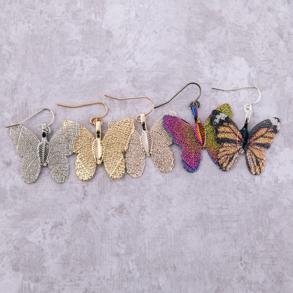"""White Gold dipped short filigree butterfly drop earrings.  - Approximately 1.25"""" L"""