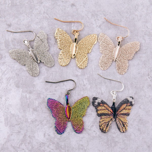 "Gold dipped short filigree butterfly drop earrings.  - Approximately 1.25"" L"