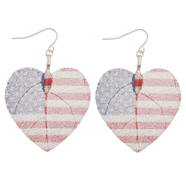 "White Gold dipped USA heart filigree drop earrings.  - Approximately 2"" L"