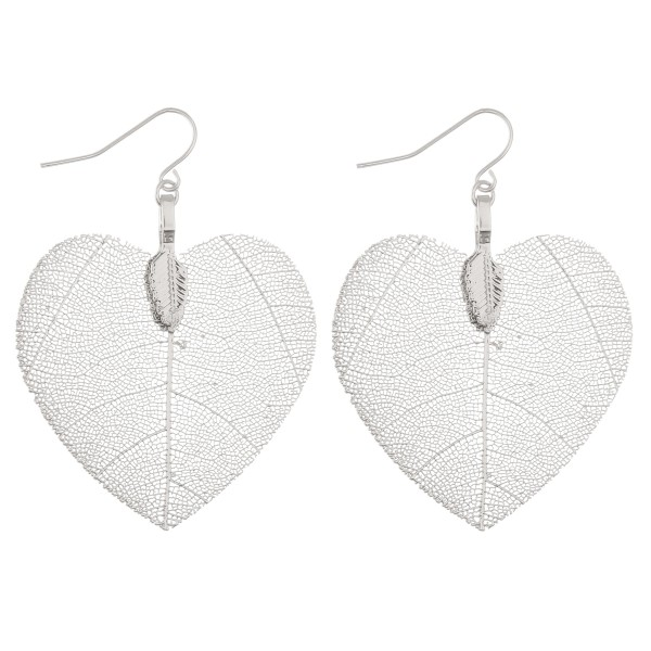 "White Gold dipped heart filigree drop earrings.  - Approximately 2"" L"