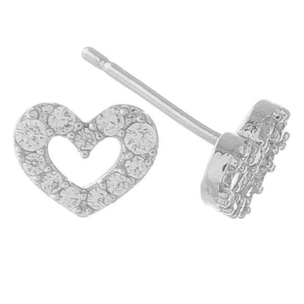 Dainty cubic zirconia open heart stud earrings.  - Cubic Zirconia - Approximately 5mm