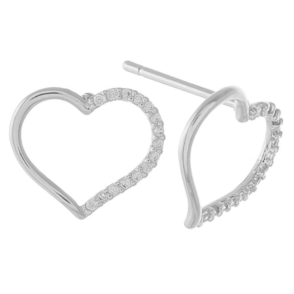 "Dainty open heart stud earrings with cubic zirconia details.  - Cubic Zirconia  - Approximately .5"" in size"