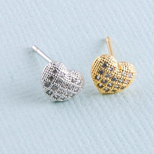 Gold dipped cubic zirconia filled heart stud earrings.  - Cubic Zirconia  - Approximately 5mm in size