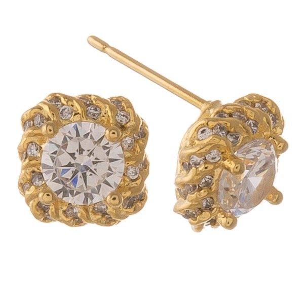 Cubic Zirconia stud earrings.  - Approximately 1cm in size