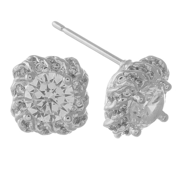 Cubic Zirconia stud earrings.  - Approximately 1cm in size