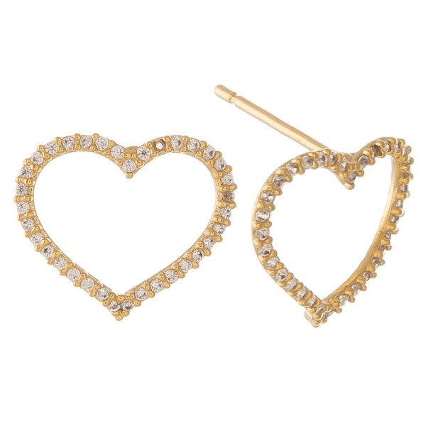 "Gold dipped cubic zirconia open heart stud earrings.  - Cubic Zirconia  - Approximately .5"" in size"