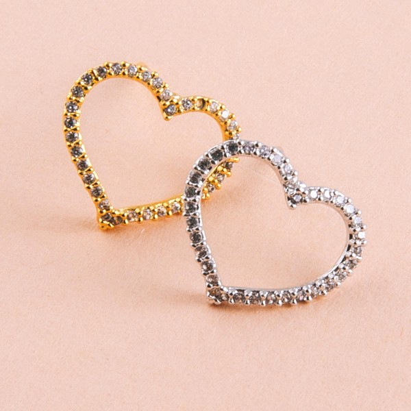 "White Gold dipped cubic zirconia open heart stud earrings.  - Cubic Zirconia  - Approximately .5"" in size"