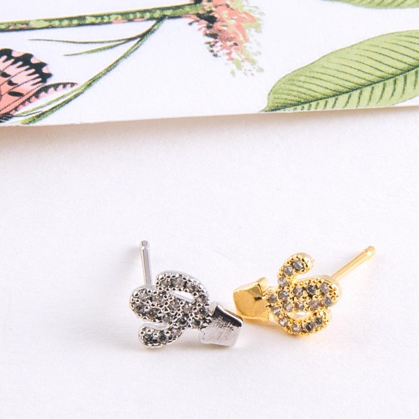 Dainty Gold dipped cubic zirconia cactus stud earrings.  - Cubic Zirconia  - Approximately 1cm in length