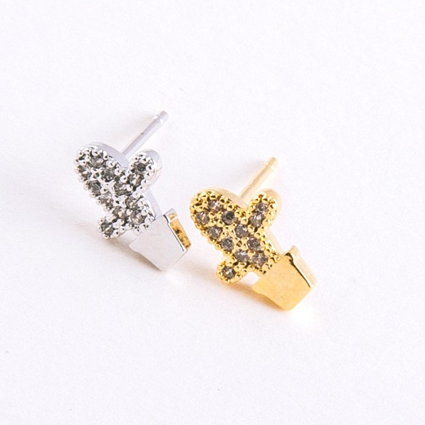 Dainty White Gold dipped cubic zirconia cactus stud earrings.  - Cubic Zirconia  - Approximately 1cm in length