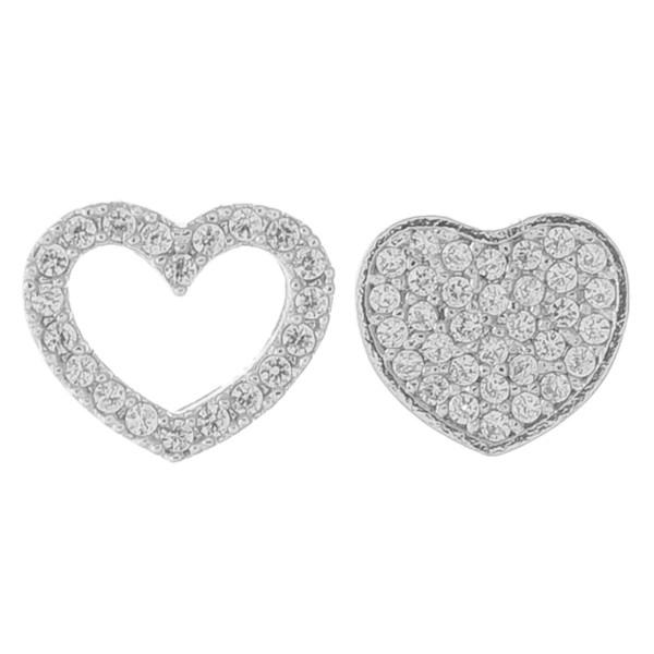 White Gold dipped cubic zirconia mix match heart stud earrings.  - Cubic Zirconia  - Approximately 6mm in size