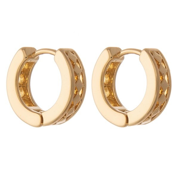 Dainty Gold dipped cut out textured huggie hoop earrings.  - Approximately 1cm in diameter