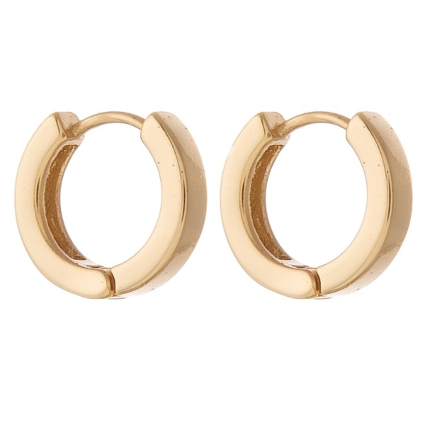 Gold Dipped Huggie Hoop Earrings.  - Approximately 1cm in diameter