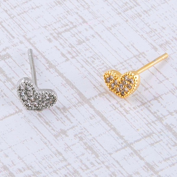 Dainty White Gold dipped cubic zirconia heart stud earrings.  - Cubic Zirconia  - Approximately 6mm in size