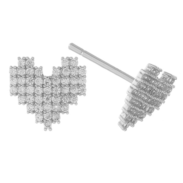 White Gold dipped cubic zirconia heart stud earrings.  - Cubic Zirconia - Approximately 1cm in size