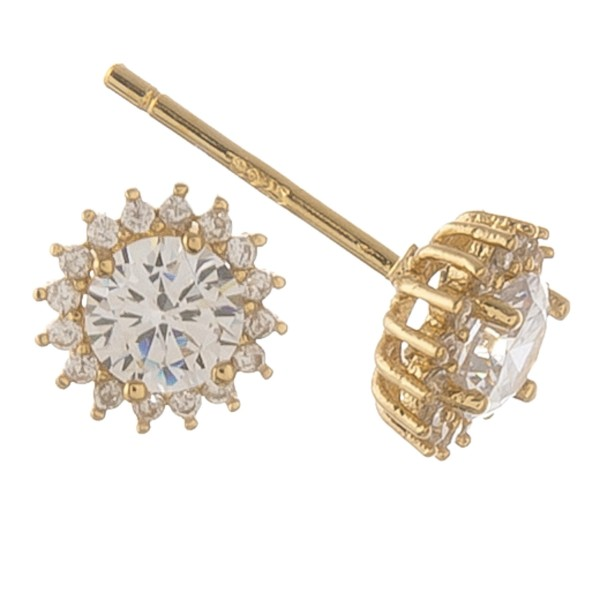 Gold dipped cubic zirconia starburst stud earrings.  - Cubic Zirconia  - Approximately 6mm in diameter