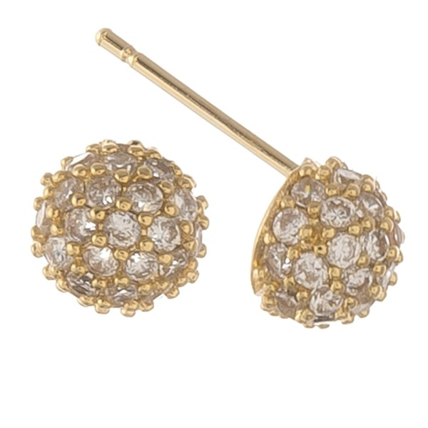 Gold dipped cubic zirconia ball stud earrings.  - Cubic Zirconia  - Approximately 6mm in diameter