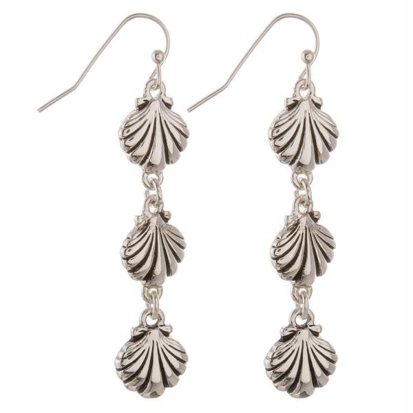 "Silver sea life seashell drop earrings.  - Approximately 2"" in length"