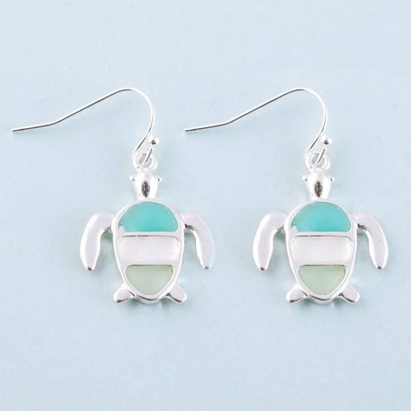 "Sea life sea glass sea turtle earrings.  - Approximately 1"" in length"