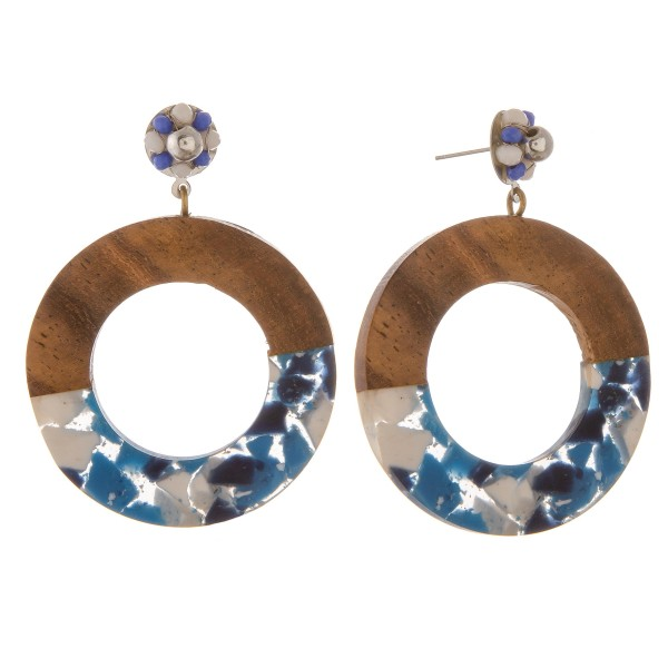 "Half resin half wood retro earrings with beaded flower stud accent.  - Approximately 2.5"" in length and 2"" in diameter"