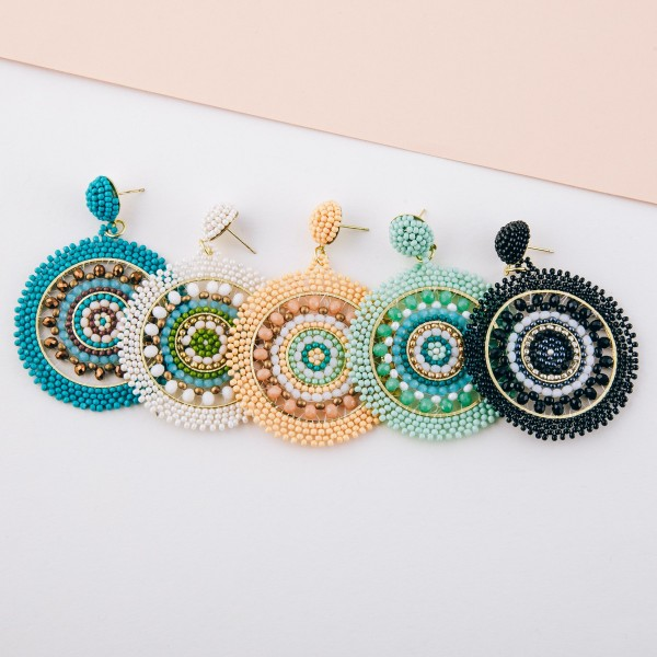 """Seed beaded woven bohemian earrings with glass bead details.  - Approximately 2.5"""" in length and 2"""" in diameter"""