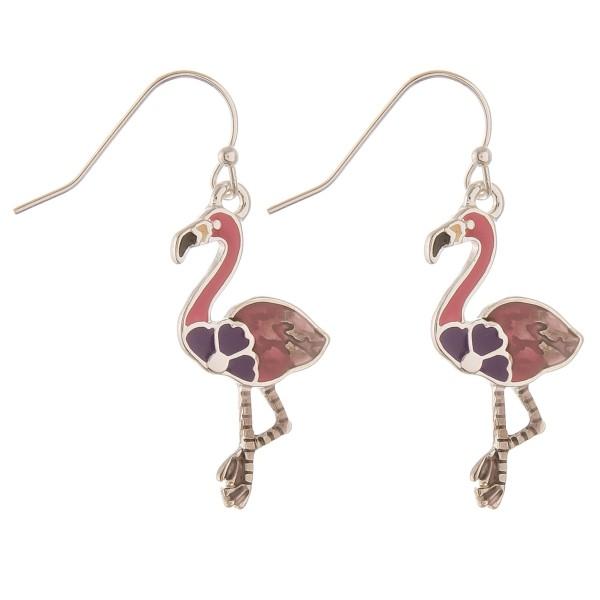 "Enamel coated tropical flamingo earrings.  - Approximately 1"" in length"