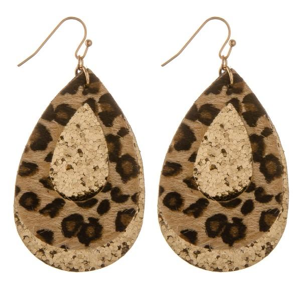 """Glittery leopard print felt teardrop earrings.  - Approximately 2.5"""" in length"""