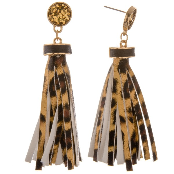 "Faux leather leopard print tassel earrings with glitter stud accent.  - Approximately 3"" in length"