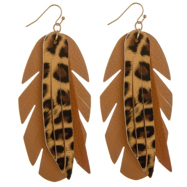 "Faux leather leopard print feather tassel statement earrings.  - Approximately 4"" in length"
