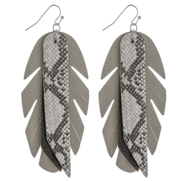 "Faux leather snakeskin feather tassel statement earrings.  - Approximately 4"" in length"